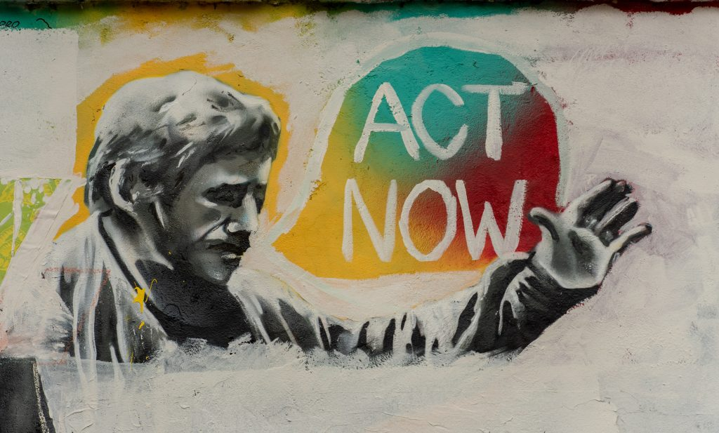 A mural depicting the urgency of the climate crisis.