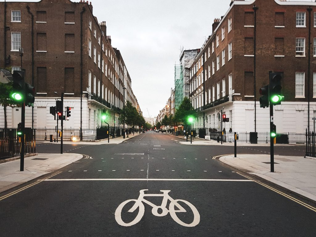 Image showing an empty street during covid-19 pandemic. The lockdown has changed attitudes towards cycling in cities making it safer for commuting on e-bikes.